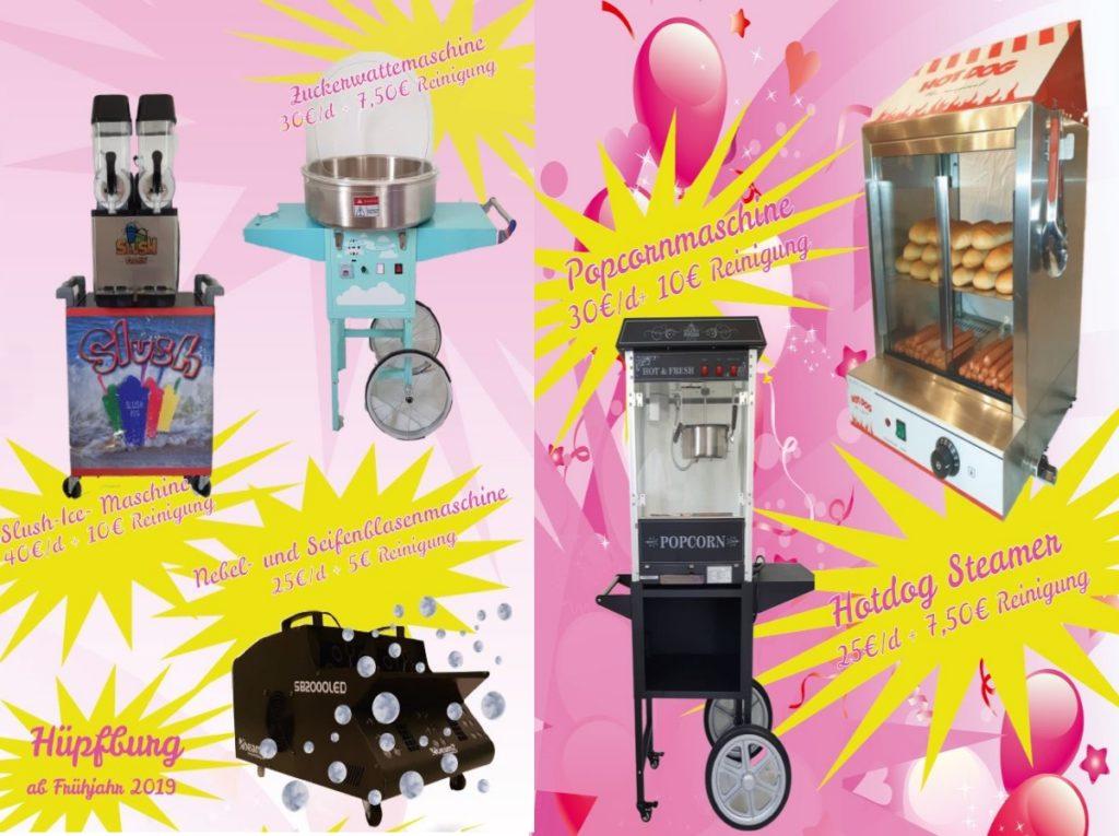 Zuckerwattemaschine, Slush-Ice, Popcornmaschine, Hot-Dog Steamer, Seifenblasenmaschine, Hüpfburg